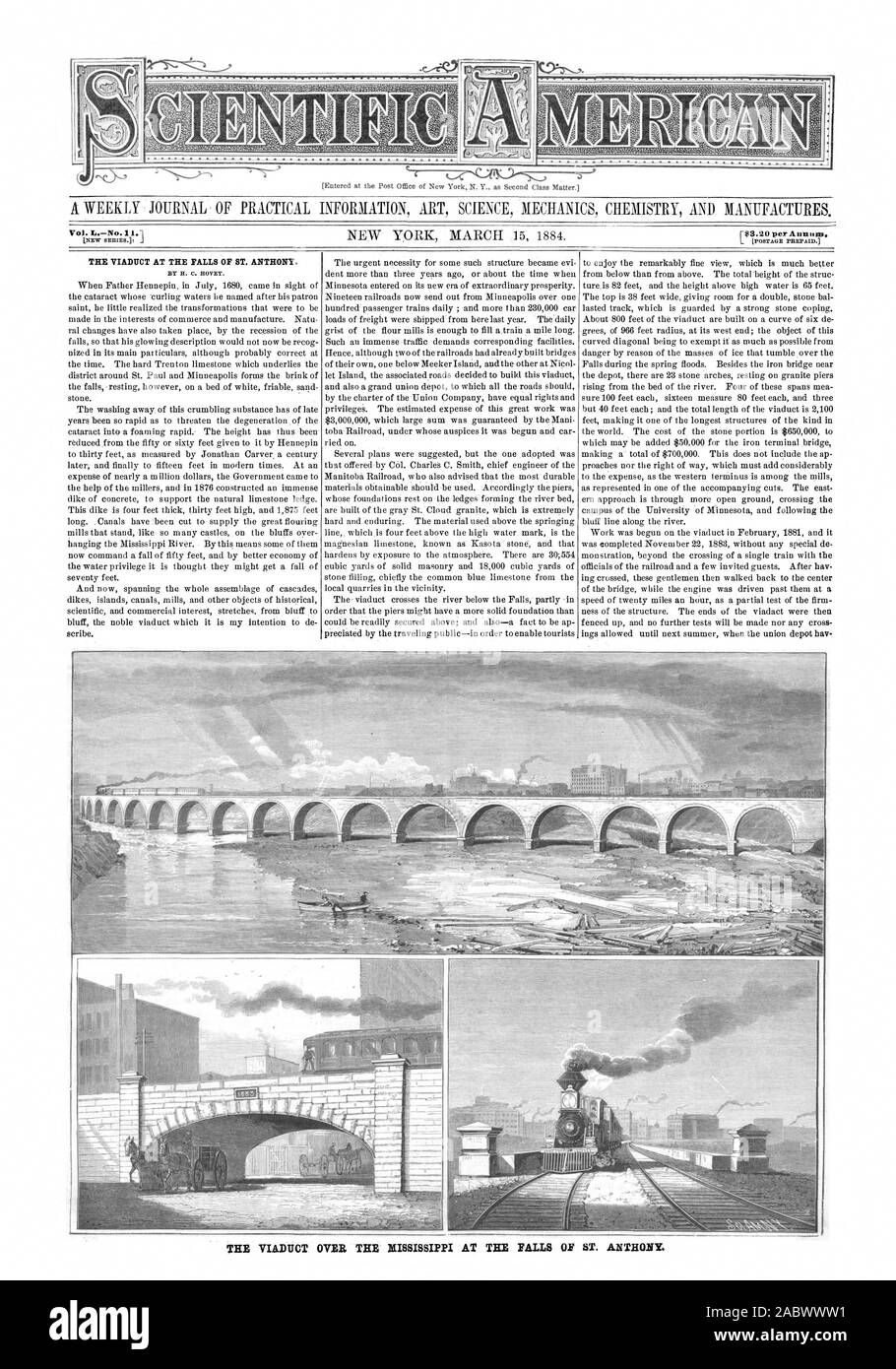 El viaducto EN LAS CATARATAS DE ST. ANTHONY. Por H. C. HOVEY. Vol. Nº el viaducto sobre el río MISSISSIPPI EN LAS CATARATAS DE ST. ANTHONY, Scientific American, 84-03-15 Foto de stock