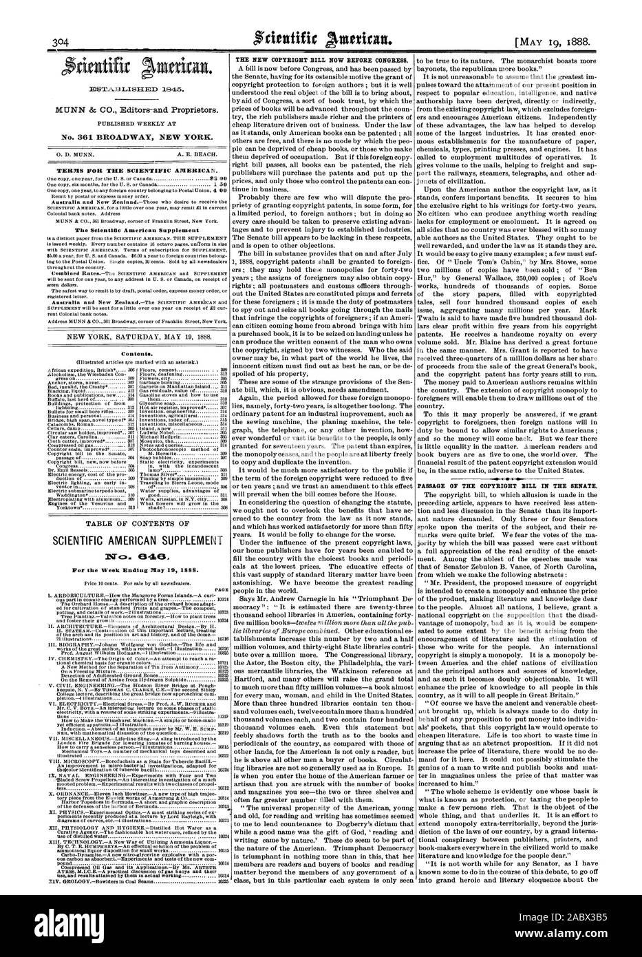 Semana finalizada el 19 de mayo de 1888. La nueva página Copyright Bill ahora ante el Congreso. La APROBACIÓN DE LA LEY DE COPYRIGHT EN EL SENADO., Scientific American, 1888-05-19 Foto de stock