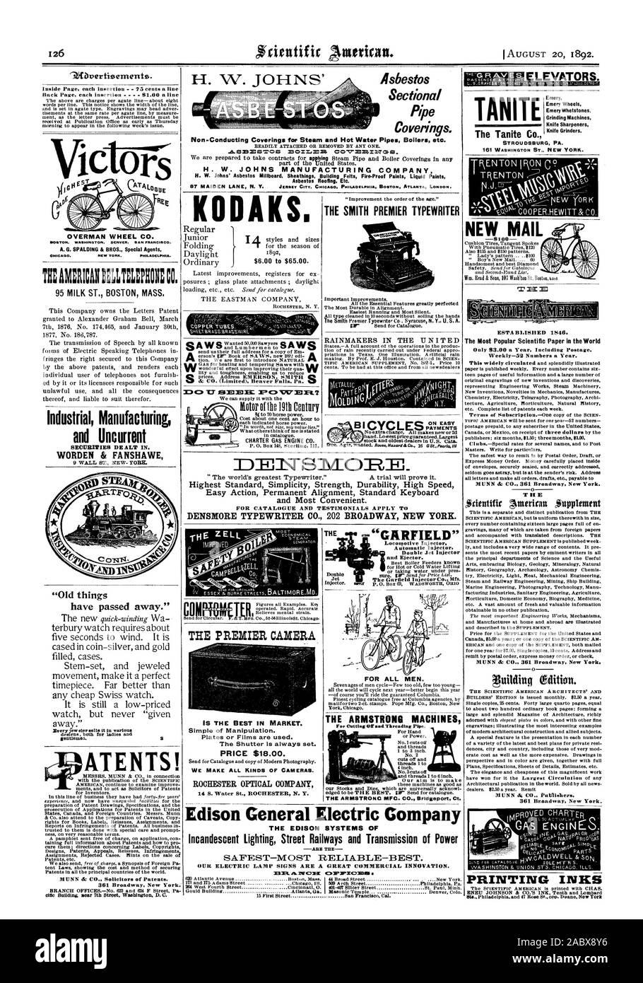 Los revestimientos del tubo transversal. Non-Conducting revestimientos de tuberías de agua caliente y vapor calderas etc. H. W. JOHNS Manufacturing Company techos de amianto Etc. KODAKS. Carta de motor de gas CO. LA SMITH PREMIER RAINMAKERS TYPEWRITER EN LAS NACIONES SOBRE PAGOS FACIL cifr 3:301TS101R= 'cosas viejas ATENTS! TEAMMICAITILLIEPEN: CO. 95 ST leche masa de Boston. Fabricación Industrial y Uncurrent WORDEN & FANSHAWE '74Jfbverti9ements. OVERMAN RUEDA. CO. HOUTON. WASHINGTON. DENVER. SAN FRANCISCO. A. G. SPALDING & BROS. Agentes especiales de Chicago. Nueva York. PHI A. 'E'G R AV E ascensores. Ruedas de esmeril Emery Whetstones Foto de stock