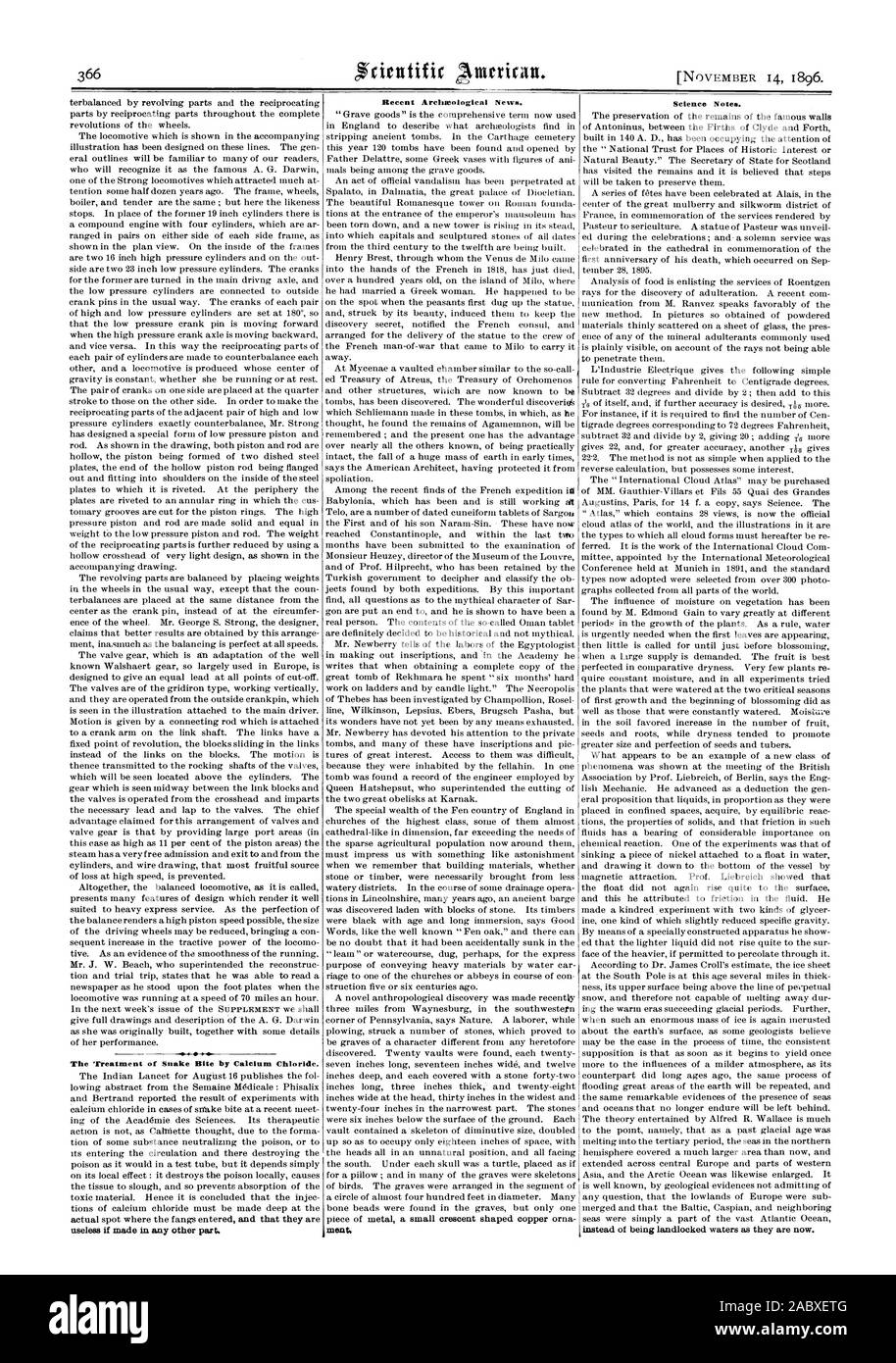 """""""El tratamiento de la mordedura de serpiente por el cloruro de calcio. es inútil si se realizan en cualquier otra parte. Noticias arqueológicas recientes. ment Ciencia Notas. En lugar de ser aguas sin litoral como son ahora, Scientific American, 1896-11-14 Foto de stock"""