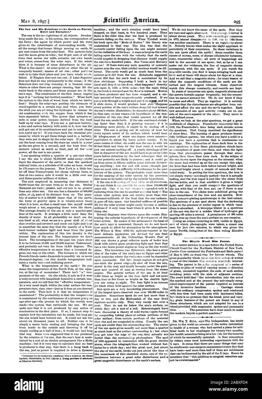 La bicicleta de madera de patentes de RIM. no puede sobreestimarse.' El Sol y sus relaciones con la tierra como regla principal y Energizer., Scientific American, 1897-05-08 Foto de stock