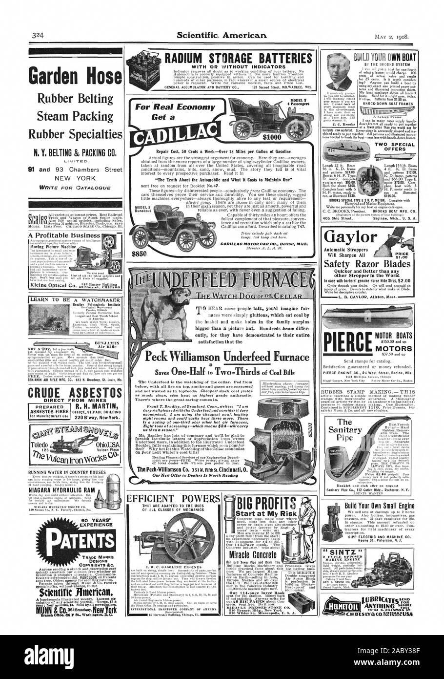 Manguera de jardín Goma Embalaje vapor especialidades de caucho N. Y. el correaje & Packing Co. de Nueva York escribe para el catálogo de una rentable tiusiness . Amianto crudo directamente desde minas preparado fibra de amianto R. H. MARTIN 220 B'forma en Nueva York. NIAGARA ariete hidráulico 140 Nassau St. N. Y. Factory Chester Pa. 60 años de experiencia en patentes MARCAS DISEÑOS COPYRIGHTS &C. Rmerican científico RADIUM LAS BATERÍAS DEL ALMACENAMIENTO CON O SIN indicadores obtener $1000 Modelo S Runabout .4 't Nu: satisfacción que las Potencias eficiente I. H. C. GASOLINA EN VIDES 15 bandas cosechadora Chicag 810 Wilder St. Minneapolis U. S. UNA Foto de stock