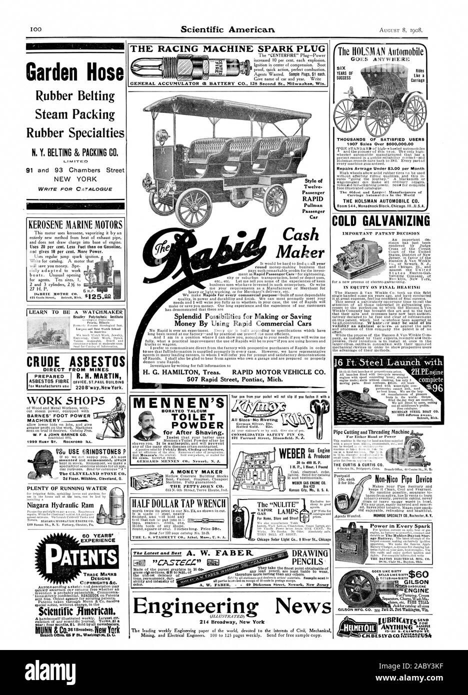 Talleres MAQUINARIA W. F DT JOHN BARNES CO. % 2d piso. Wilshire. Cleveland 0. Mucha AGUA CORRIENTE EL PETTYJOHN CO. miles de usuarios satisfechos en 1907 las ventas de más de $600000.00 Reparaciones bajo promedio de $3.00 por mes los automóviles HOLSMAN CO. EL CURTIS CURTIS & CO. un relojero manguera de jardín Goma Embalaje vapor especialidades de caucho N. Y. el correaje 86 C de embalaje para el catálogo de escritura y da 10%. Más potencia. Crudo directamente desde las minas de asbesto R. H. MARTIN OFFICE. ST.Paul construcción de 60 años de experiencia diseña COPYRIGHTS &C. Científicos de borato de MENNEN Jimerican() WC de talco en polvo para Foto de stock