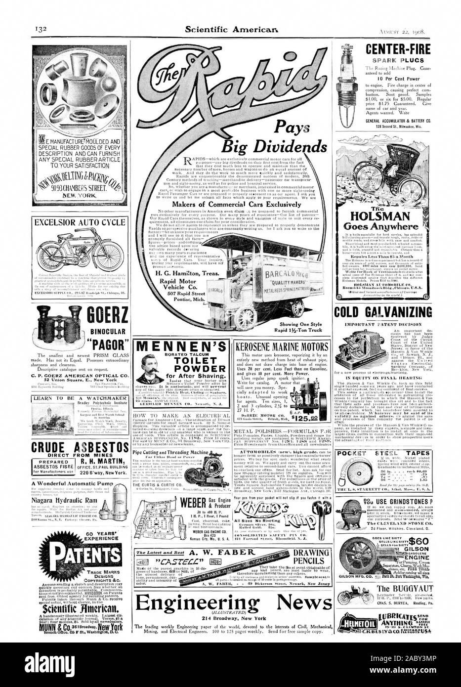 Paga Gran División ds CENTRO-FIRE SPARK PLUCS H. G. Hamilton Treas. Fabricantes de automóviles comerciales exclusivamente EXCELSIOR CICLO AUTOMÁTICO C. P. GOERZ AMERICAN OPTICAL CO. CRUDO DIRECTAMENTE DESDE LAS MINAS de asbesto una maravillosa Bomba Automática Niagara ariete hidráulico experiencia patentes, diseños de autor &C. Scitatific americano. Motor de gas & Producer Tfie HOLSMAN le acompaña dondequiera que el C:LEVELANII PIEDRA CO VA COMO SESENTA GILSON GASOLENE separadores del motor ChurnsWash M. El BUGGYAUT lillYTHING 'ME' MENNEN'S BORATO° talco en polvo inodoro para después del afeitado. El queroseno MOTORES MARINOS POCKET CINTAS DE ACERO TIIE L. S.' UN EIZETT Aihnl Foto de stock