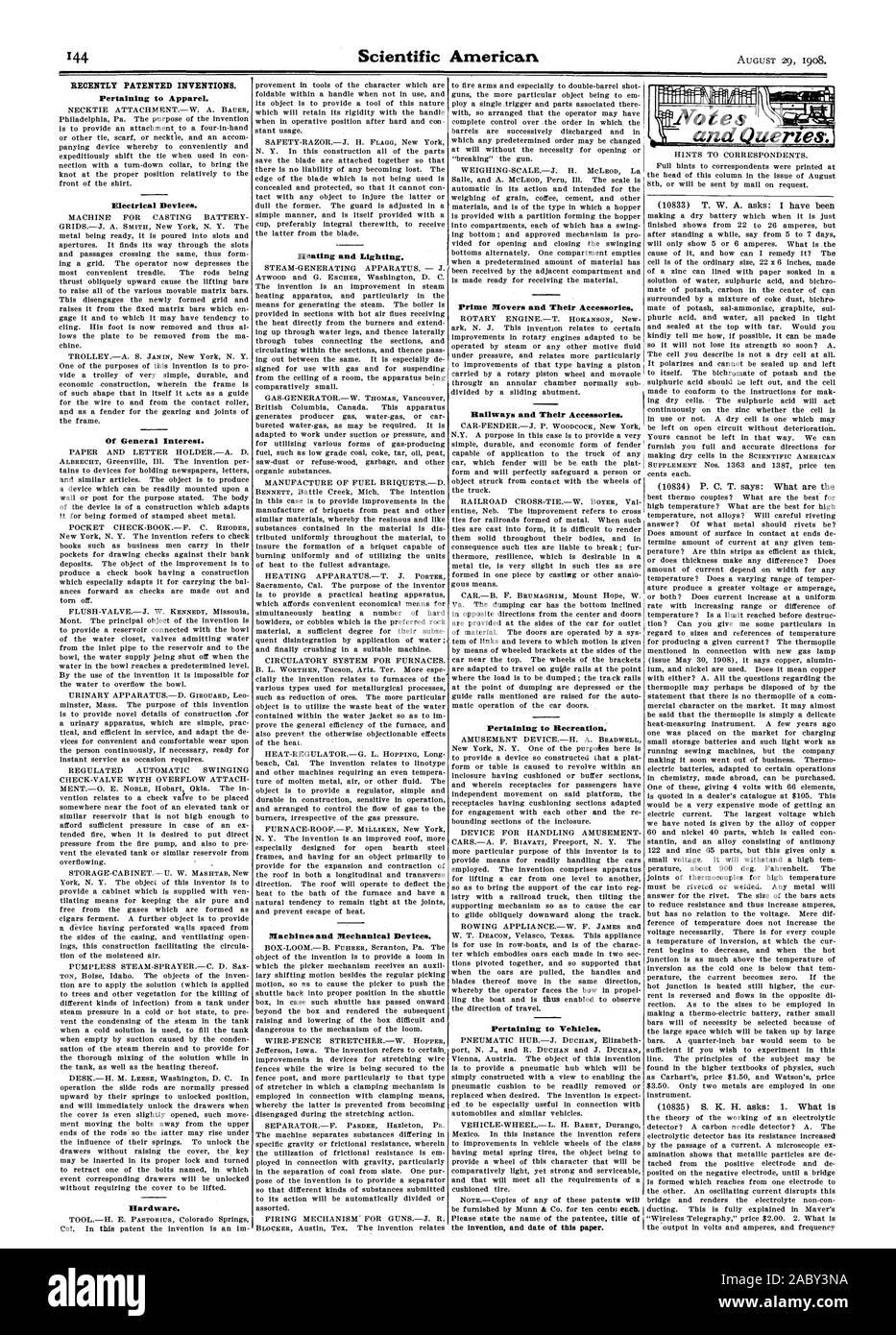 Recientemente, las invenciones patentadas. Relativas a las prendas de vestir. Dispositivos eléctricos. De interés general. Hardware. La calefacción y el alumbrado. Máquinas y dispositivos mecánicos. Inspiradores y sus accesorios. Ferrocarriles y sus accesorios. Perteneciente a la recreación. Los vehículos pertenecientes a la invención y la fecha de este documento. :: . AL: 1 y consultas (10830) T. W. A. pregunta: he sido, Scientific American, 1908-08-11 Foto de stock