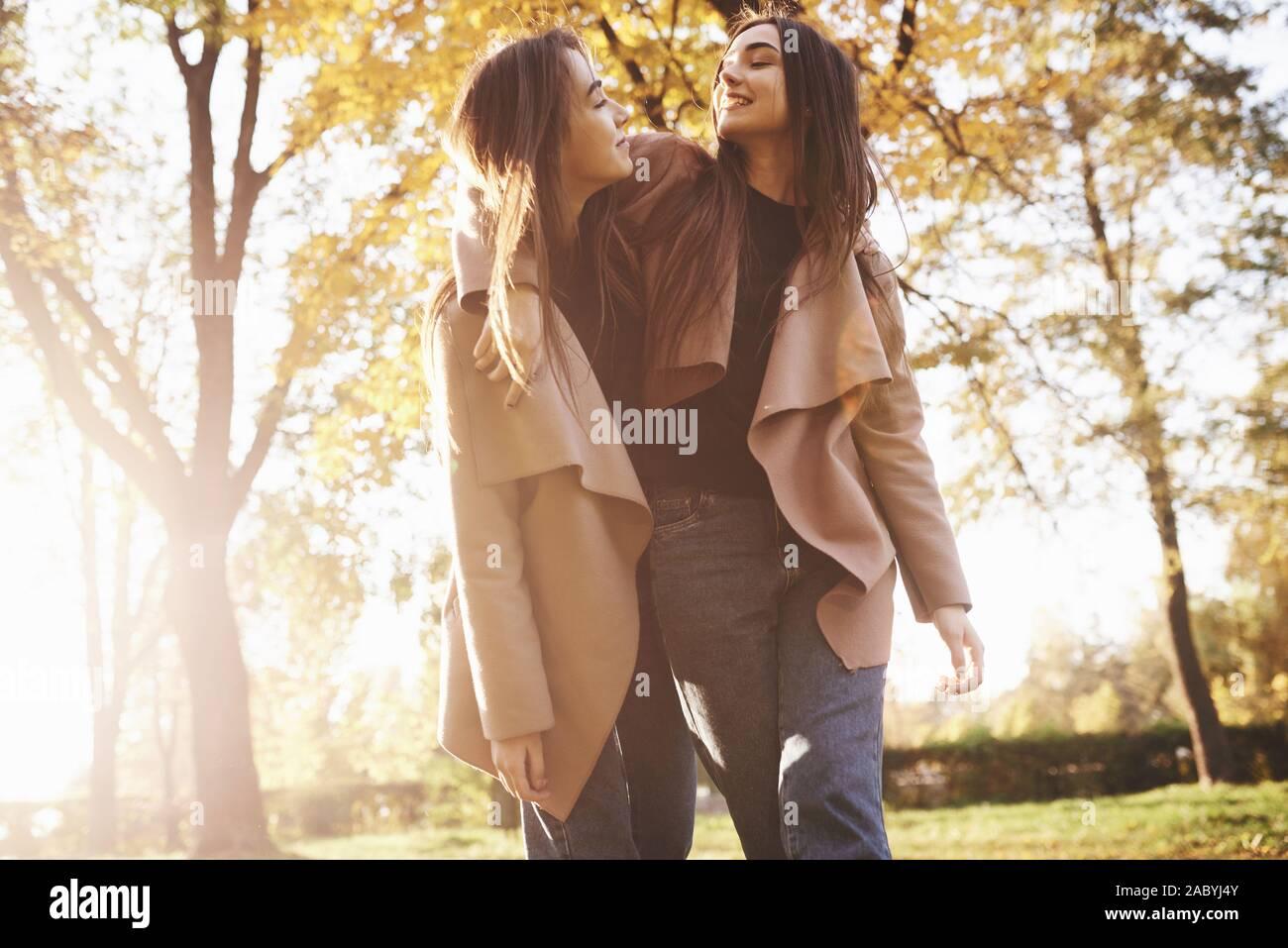 Vista inferior de la joven morena sonriente dos niñas abrazando, mirando el uno al otro y caminando en chaqueta casual en otoño soleado parque en borroso fondo Foto de stock