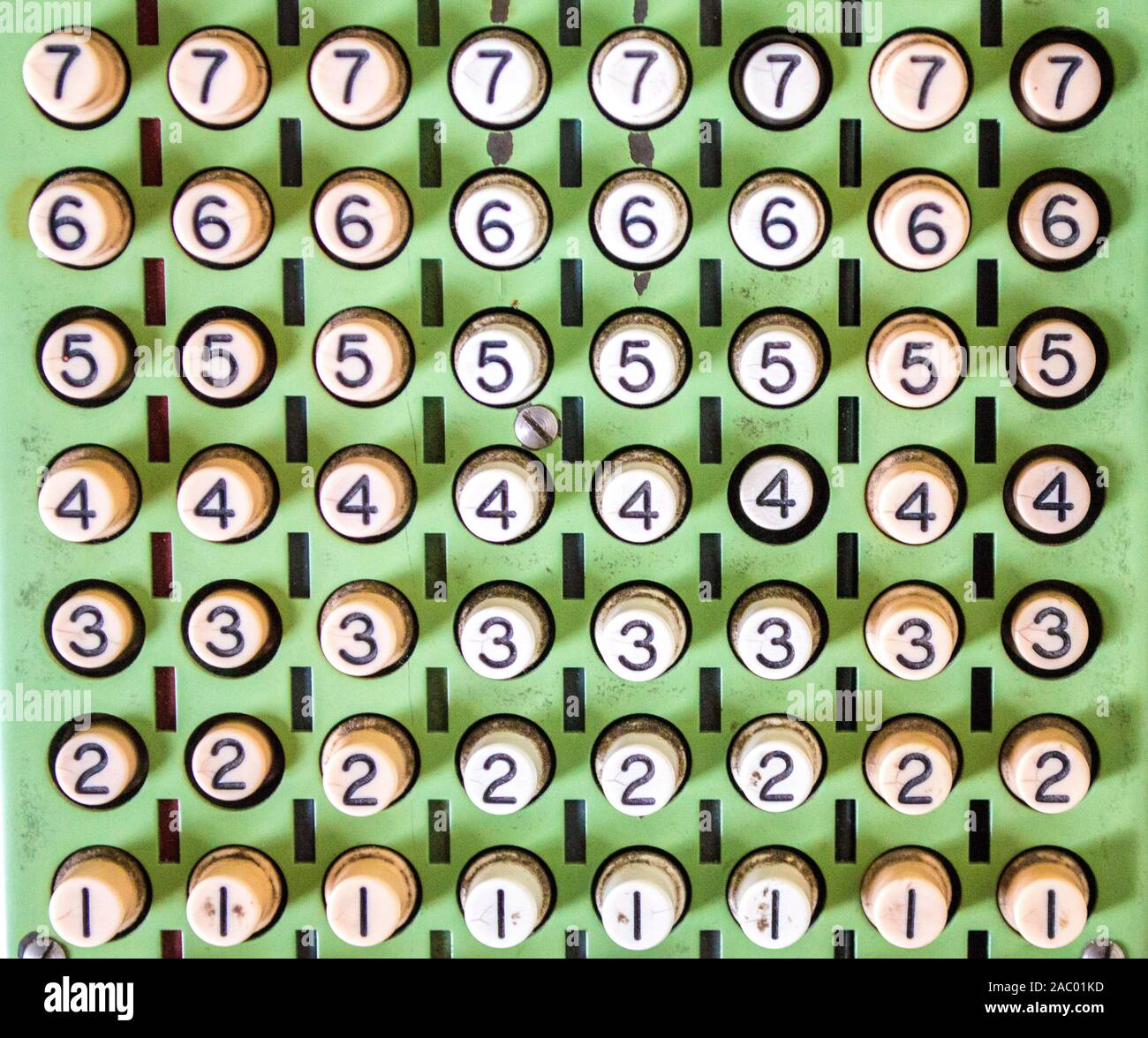 Fondo de pantalla - cierre de filas de teclas numéricas en una máquina de sumar vintage Foto de stock