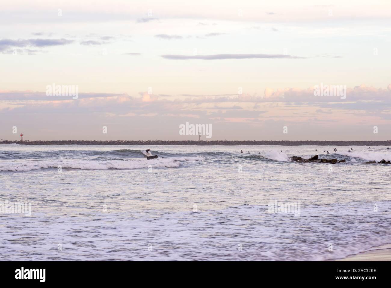 Escena costera en una mañana de otoño. San Diego, California, USA. Fotografiado en Ocean Beach. Foto de stock