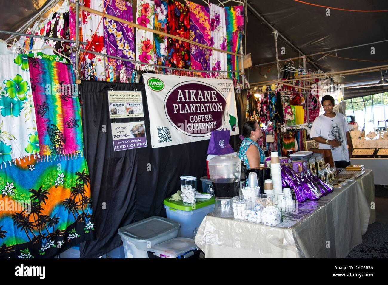 La Plantación Aikane Coffee Company stand en el Mercado de Granjeros de hilo, la Isla Grande de Hawai'i. Foto de stock