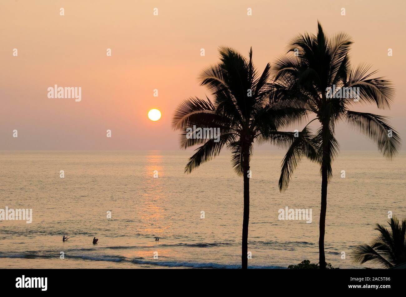 Un hermoso atardecer en el Hapuna Beach, con siluetas de palmeras y gente de mar, isla de Hawai'i. Foto de stock
