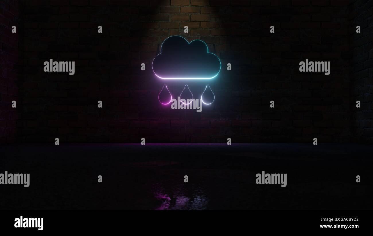 3D rendering de neón azul violeta símbolo de nube de lluvia con tres gotas en la pared de ladrillo oscuro con fondo húmedo reflexión borrosa Foto de stock