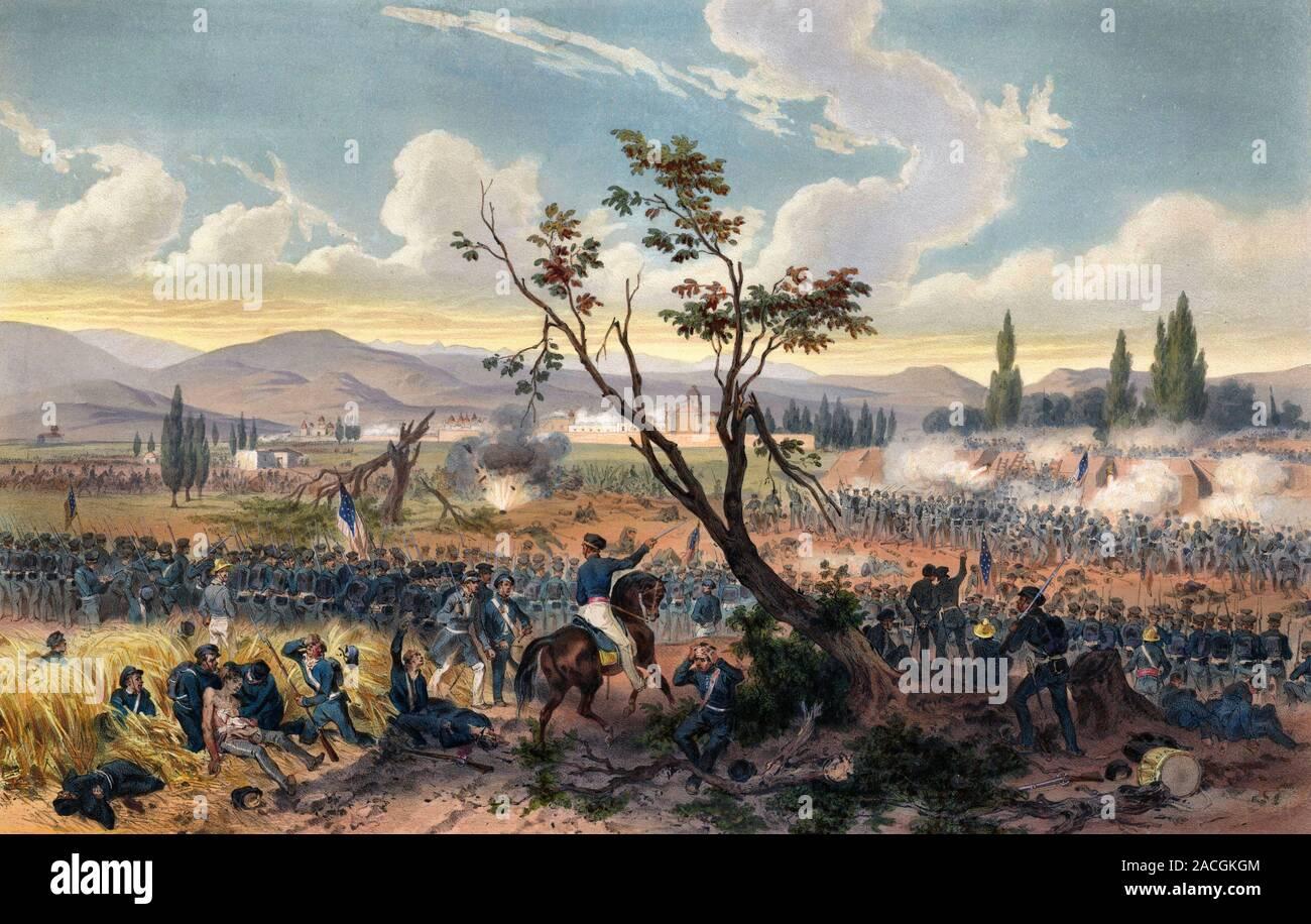 Batalla de Churubusco (20 de agosto de 1847) en la guerra mexicano-americana. Litografía coloreada a mano - Adolphe Jean-Baptiste Bayot Foto de stock