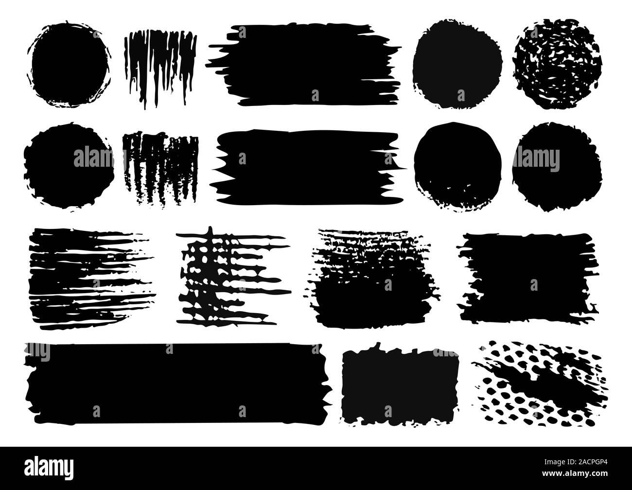 Conjunto de vectoriales dibujadas a mano pintar trazos de pincel y manchas aisladas sobre fondo blanco. Ilustración del Vector