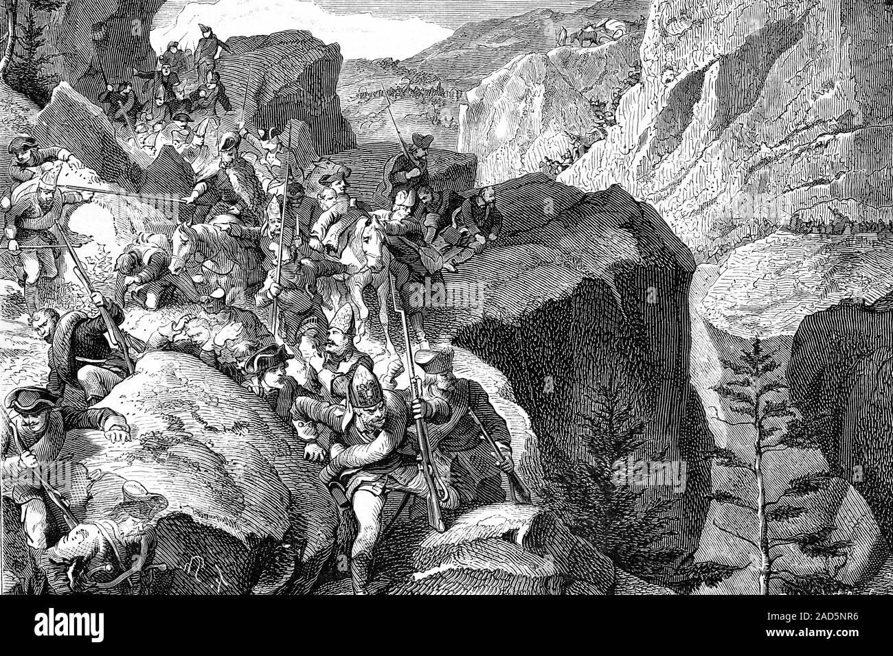 Batalla de Zurich. Las guerras napoleónicas. Ilustración de antigüedades. 1890. Foto de stock