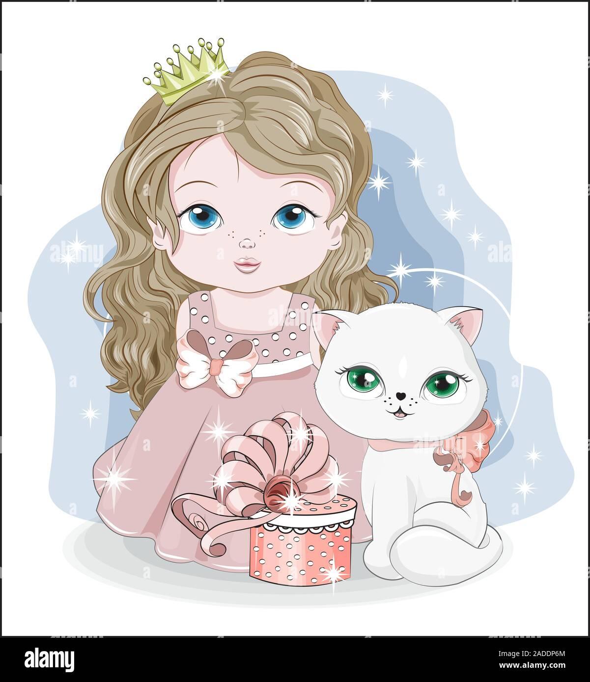 Bebe Princesa Con Corona Y Lindo Gatito Gato Blanco Con Caja De