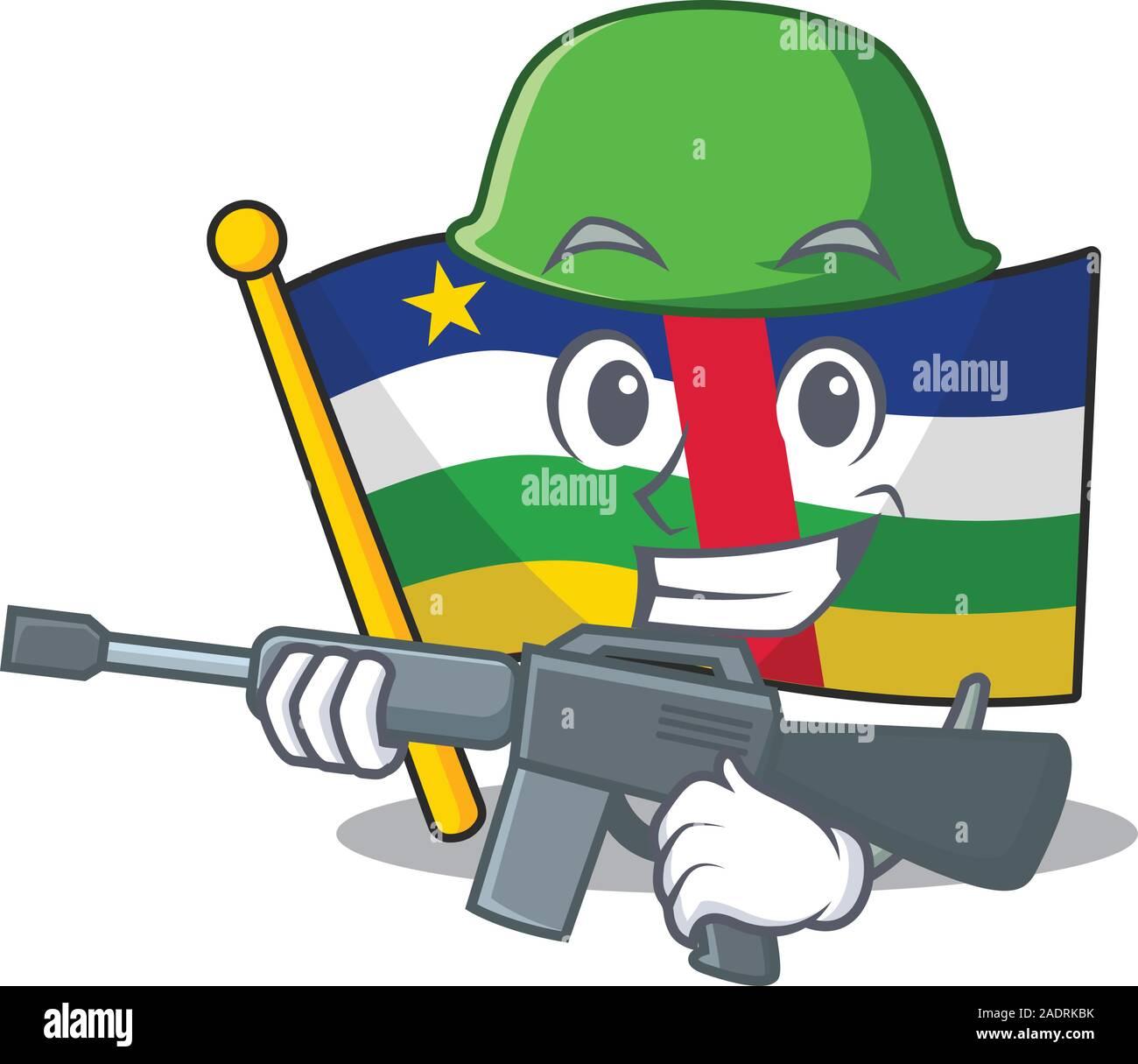 Un estilo de dibujos animados de bandera ejército centroafricano con ametralladora Ilustración del Vector