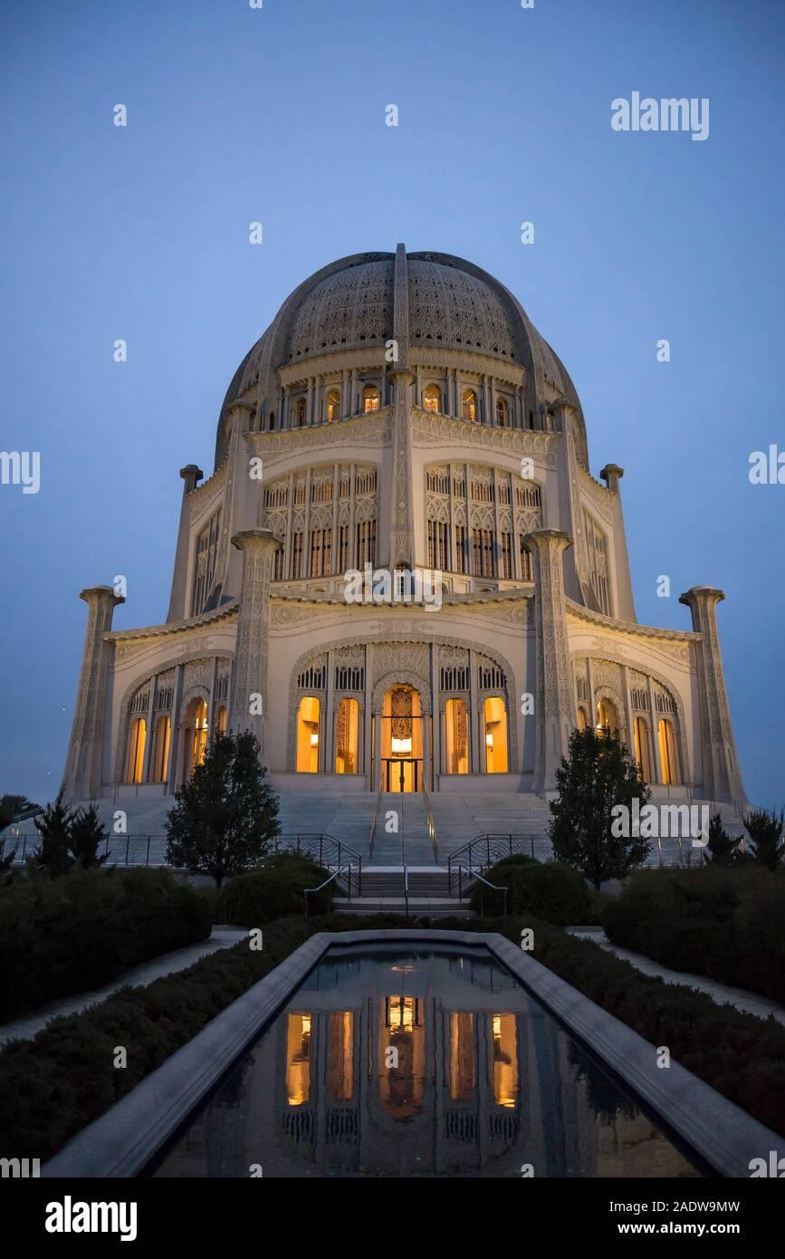 Baha'i casa de culto, es un templo en Wilmette, Evanston, Chicago, Illinois, EE.UU. Foto de stock