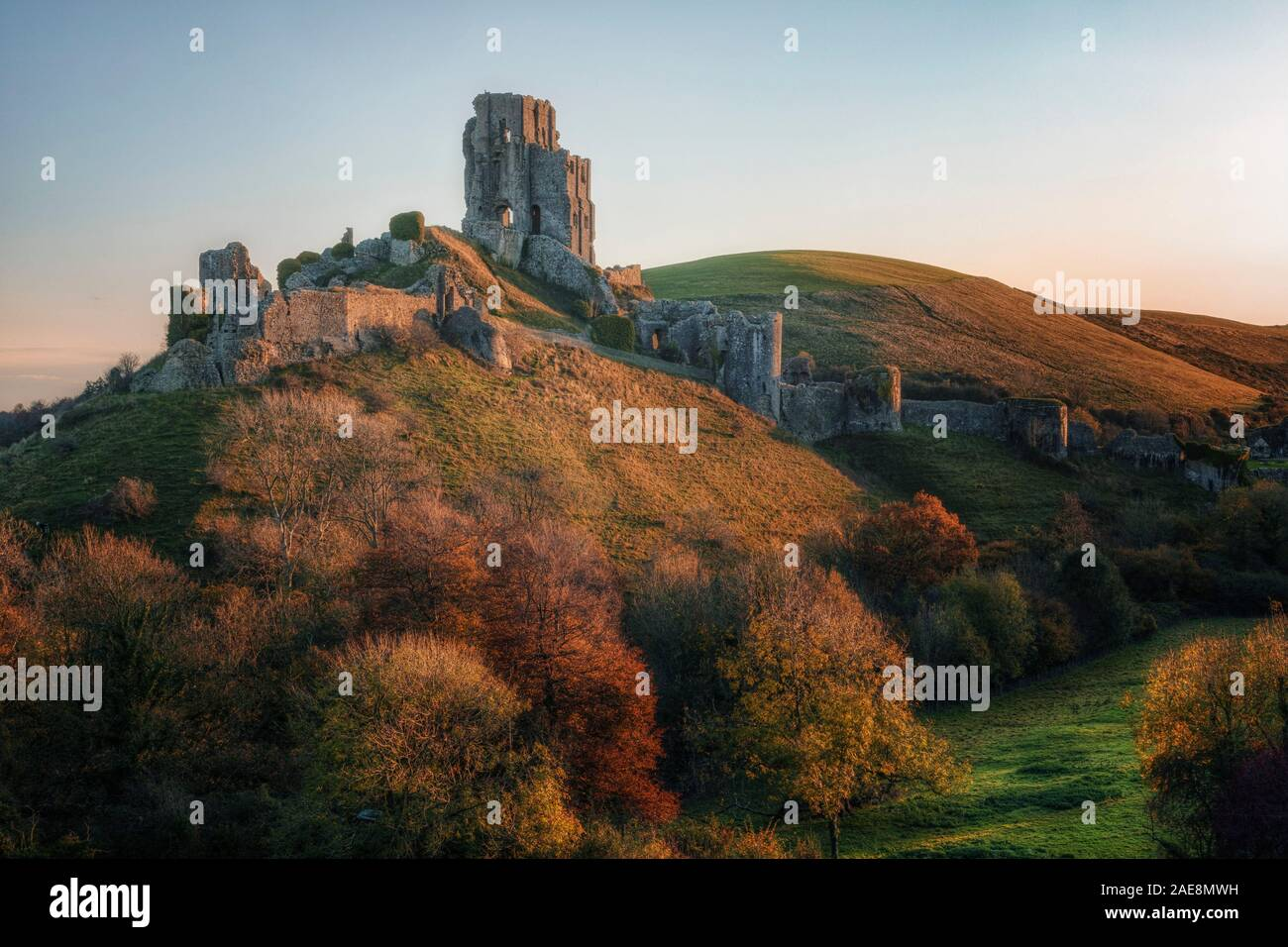 El castillo Corfe, en Dorset, Inglaterra, Reino Unido Foto de stock
