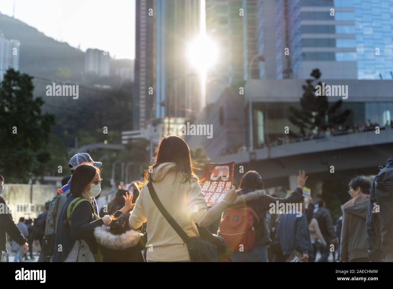 La Isla de Hong Kong, Hong Kong - Dec 8, 2019: carta internacional de los Derechos Humanos protesta en Hong Kong, 0,8 millones de personas en la calle contra la policía Foto de stock