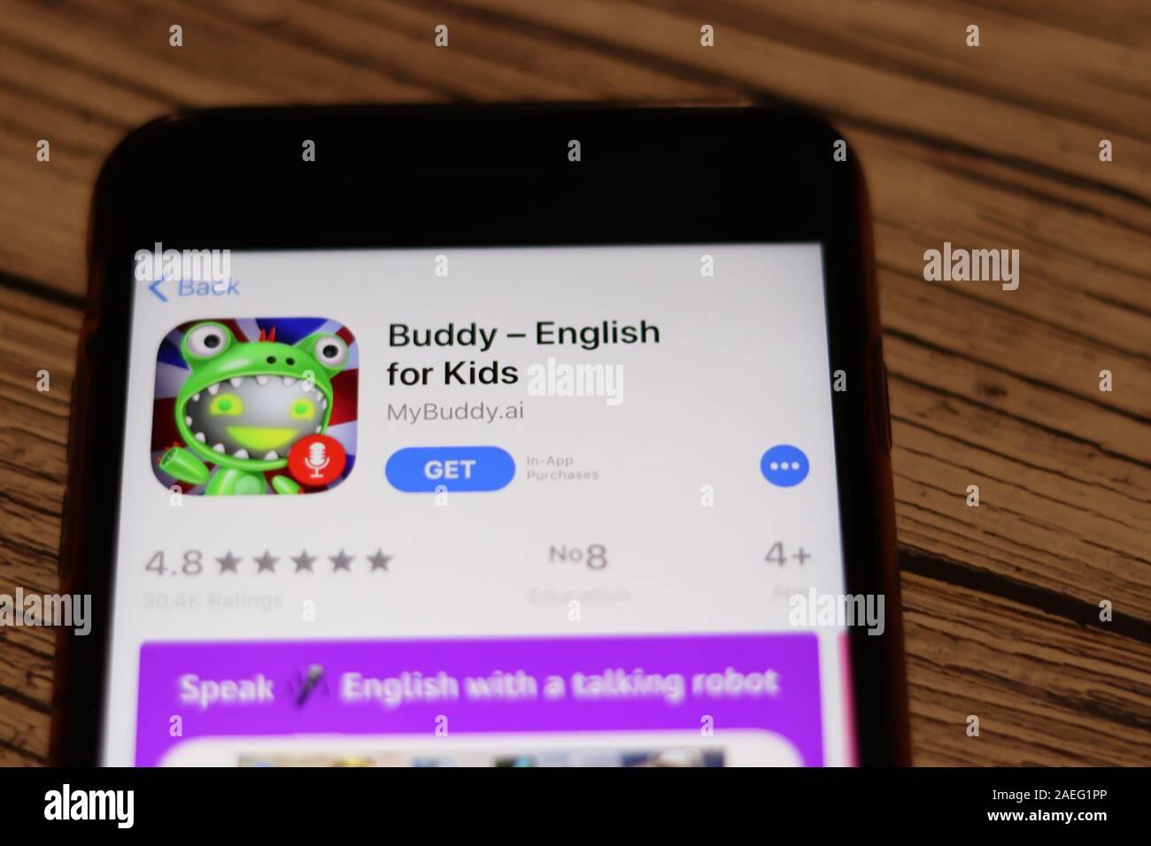 Los Angeles California Usa 26 De Noviembre De 2019 Buddy English For Kids Pagina App Store Cerrar Vista Superior En El Escritorio A Titulo Ilustrativo Editorial Fotografia De Stock Alamy