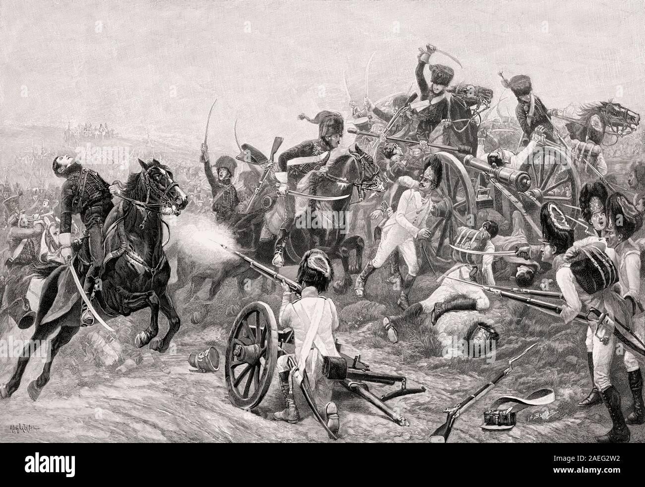 La batalla de Aspern-Essling, Guerras Napoleónicas, mayo de 1809 Foto de stock