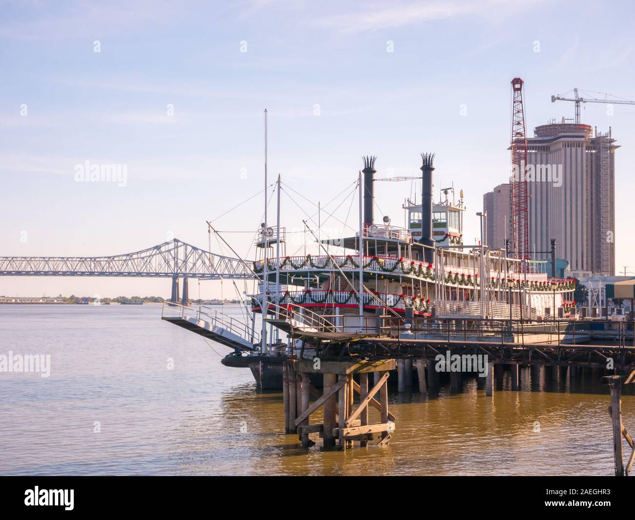 Nueva Orleans barco de vapor en el río Mississippi, en Nueva Orleans, Lousiana Foto de stock