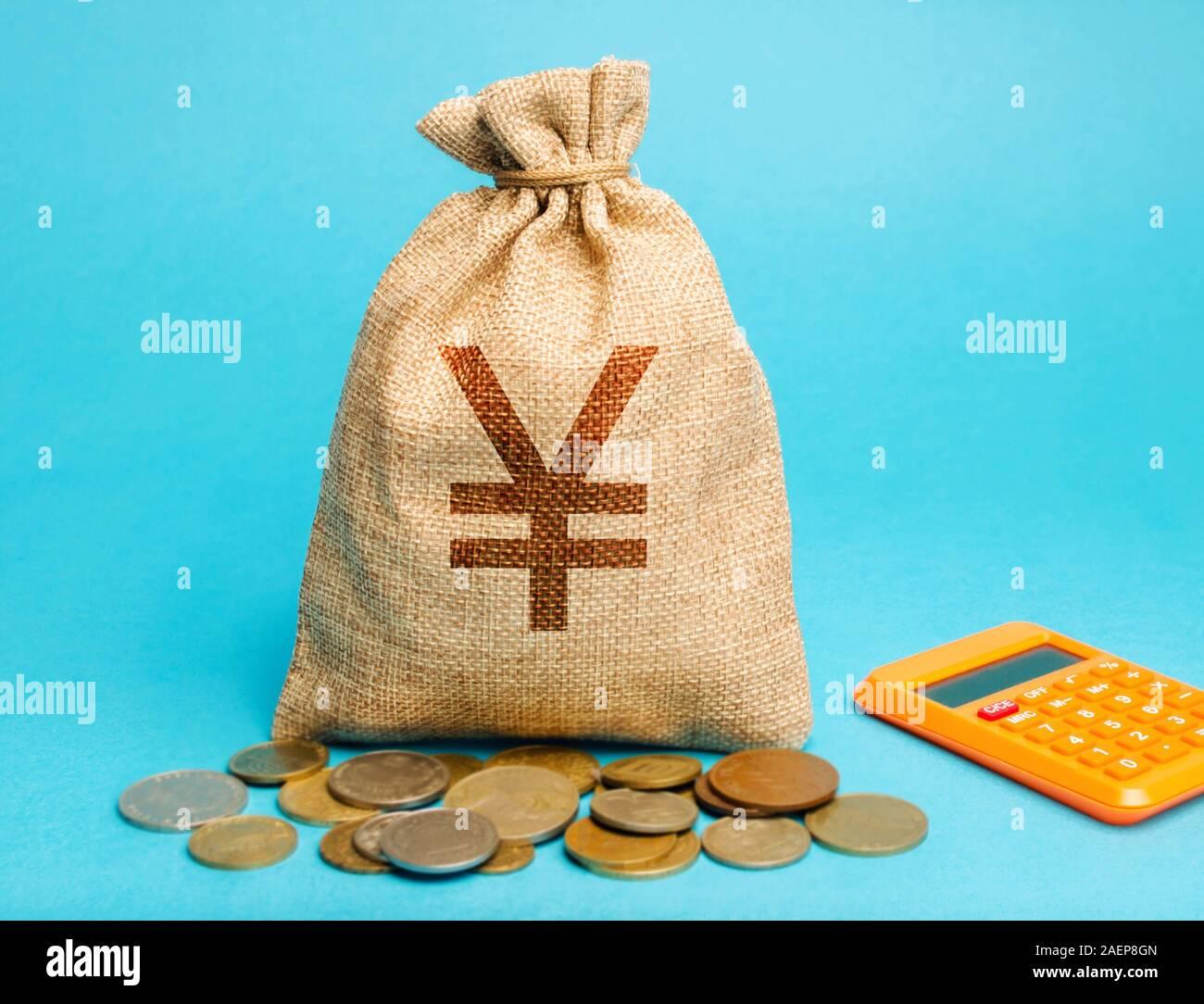 Bolsa de dinero con monedas y una calculadora. Concepto de ganancias y finanzas. Presupuesto, salario, ingresos. Distribución de dinero y ahorros. Yen, yuan Foto de stock