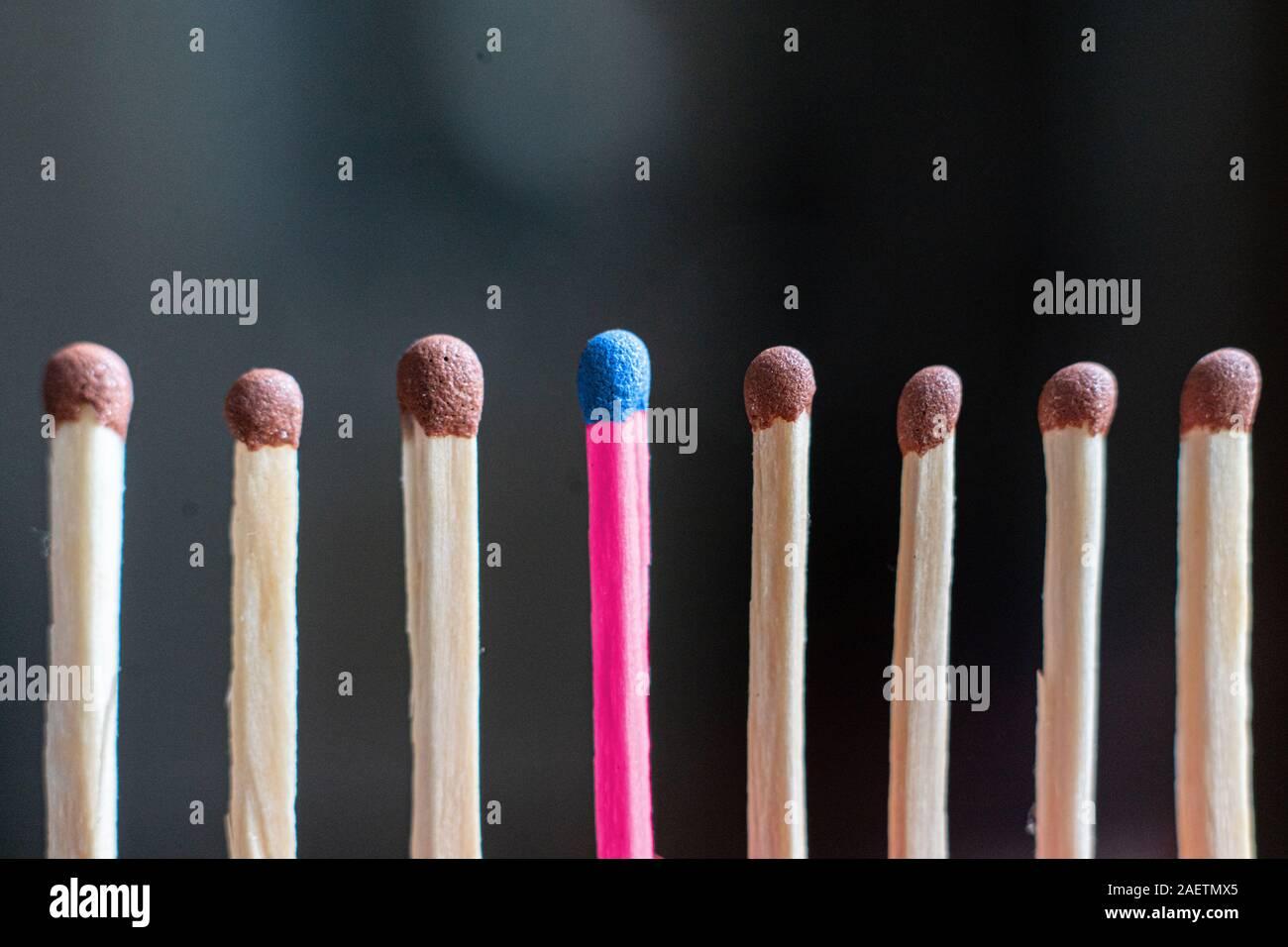Única coincidencia de madera entre los demás regulares, la idea de trabajo en equipo Foto de stock