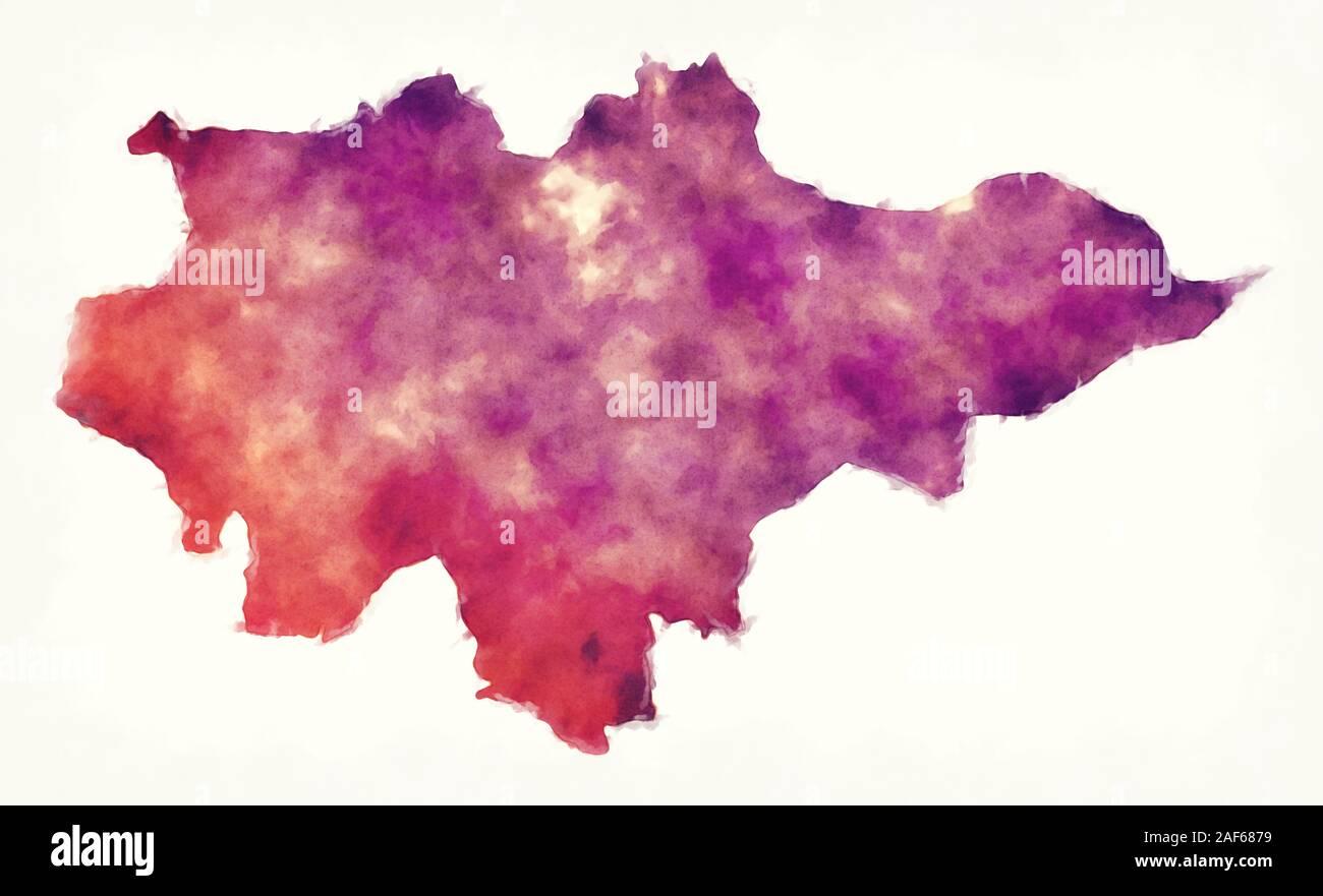 Región de Mopti acuarela Mapa de Malí Foto de stock