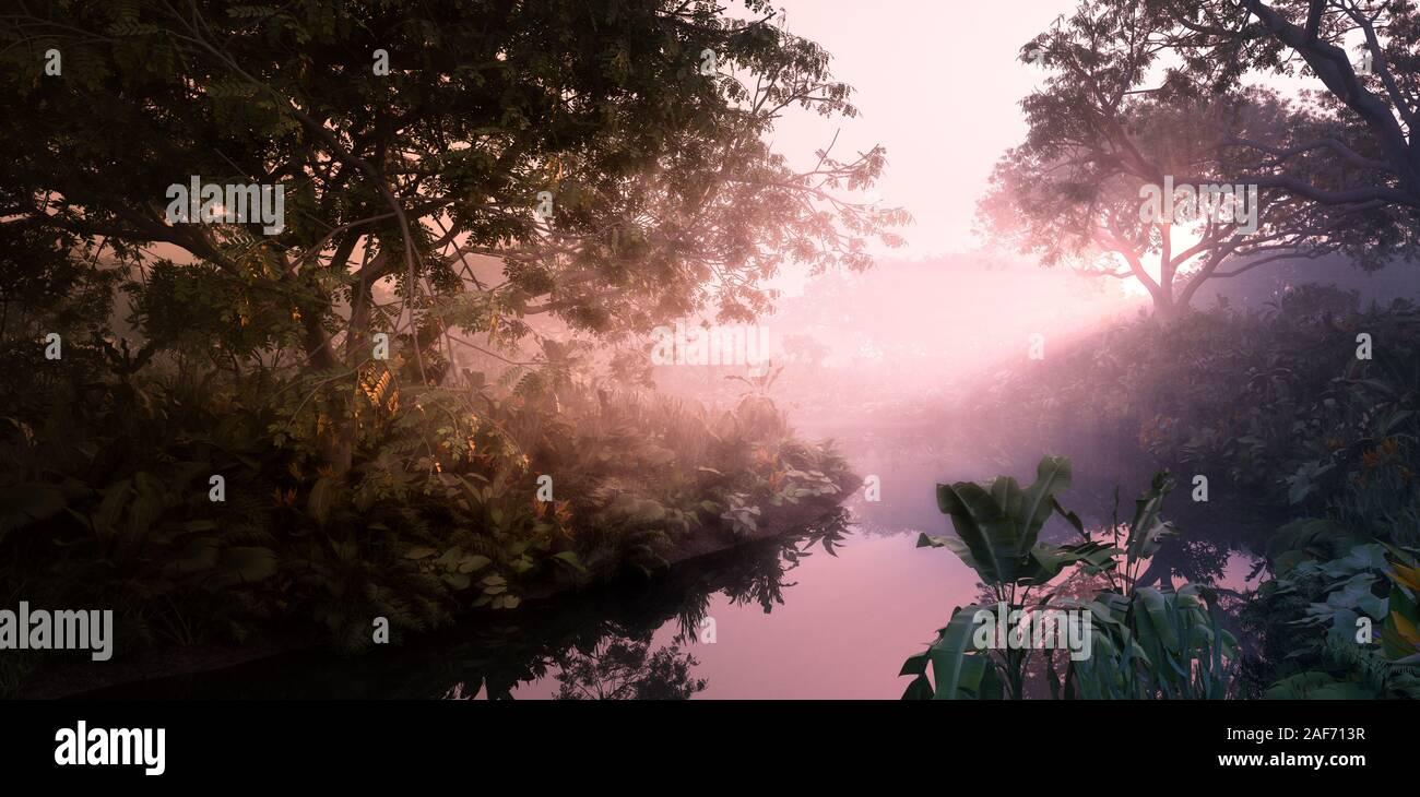 La fantasía del atardecer en la selva paradisiaca. Densa vegetación selvática, tranquilo estanque en misty luz volumétrica. 3D rendering. Foto de stock