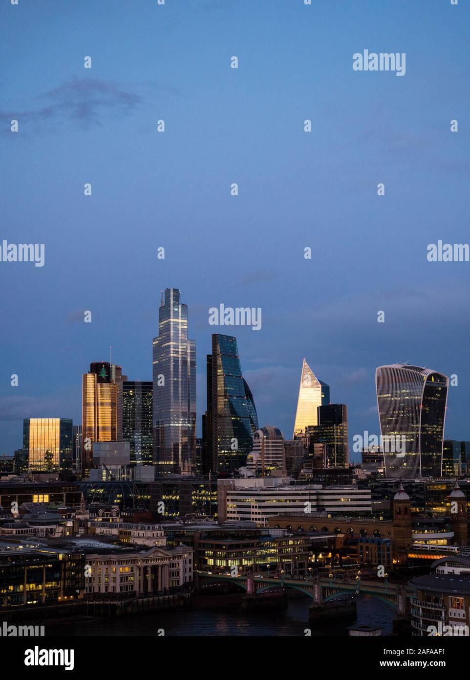 Ciudad de Londres casi tiempo paisaje, Londres, Inglaterra, Reino Unido, GB. Foto de stock