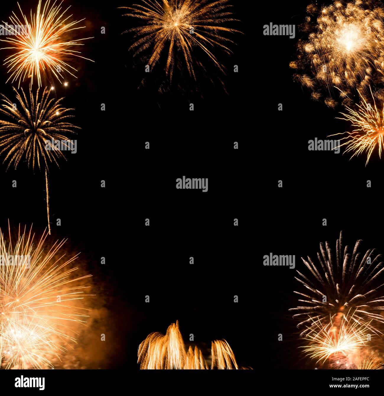 Fondo de fuegos artificiales de Año Nuevo, Año Nuevo deseos concepto Foto de stock