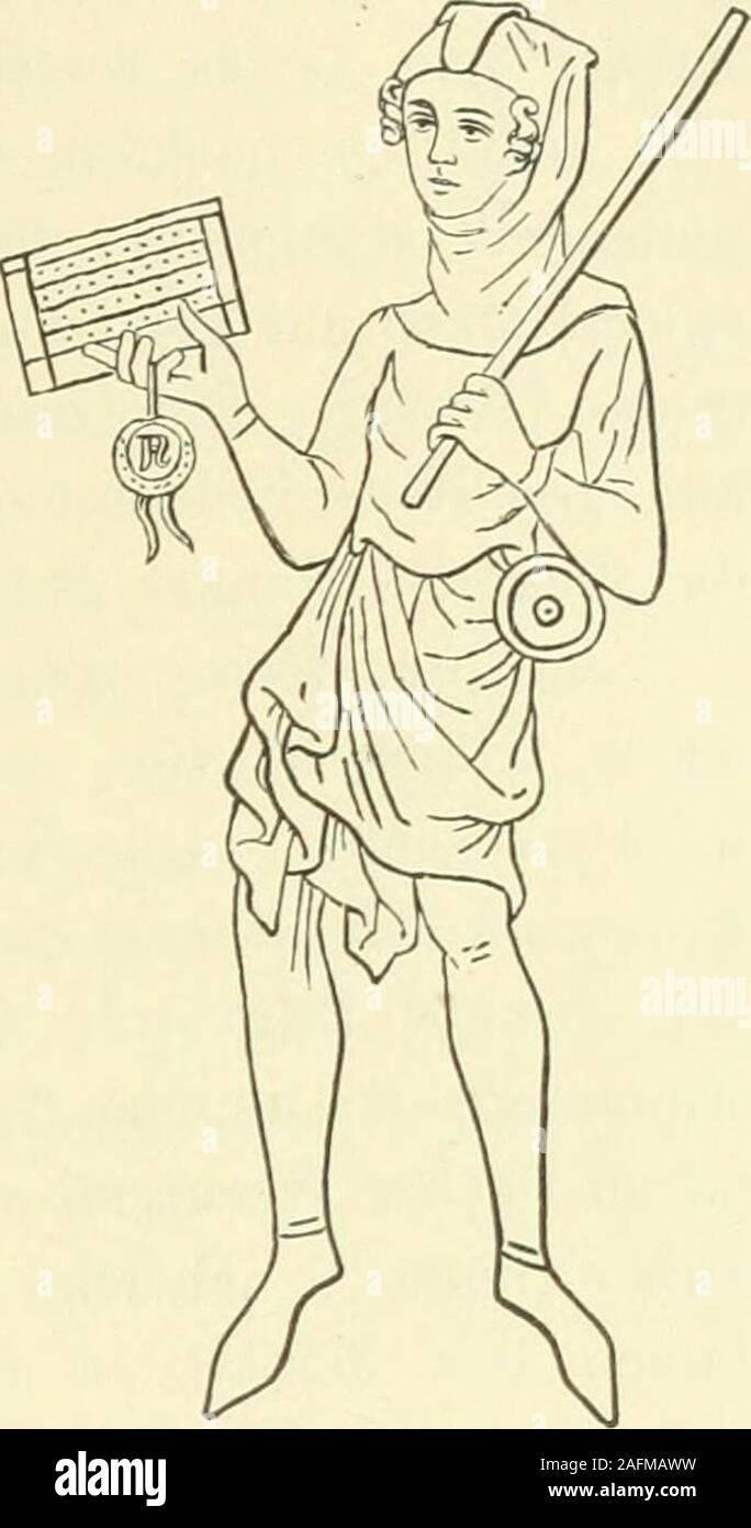. Das Leben der höfische zur Zeit Minnesinger. ain onu barril; II, pág. 103: De lettres porteli piain gars onu barril par la corgie ä hijo col le pendit. Boten. 175 Heidelberger Minnesingerliandsclirift ^), dann in den Miniaturen derWelislawschen Bilderbibel 2) (s. Fig. 50), im Codex Balduineus 3).Die Knappen waren, Wenn Sie eine solcheReise antraten, durch besondere Wahr-Zeichen legitimirt, un denen Fremde denAbsender erkannten*). Dass der buntbemalte, vielleicht nach dem Wappen desHerrn gefärbte puñalada muere Abzeichen bil-dete, ist nicht unwahrscheinlich^). Einen jungen verständigen Mannmusste hombre s Foto de stock
