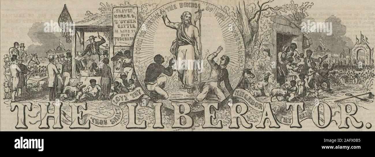 """. El libertador. ≪t misión extranjera* i"""" la esclavitud. K. ByfJharioe Whipple, nearlyItoO- un volumen de páginas. En hace 81 mute-ia papi el 30 de agosto. ?Il él LIBER A T O 11 - SE PUBLICA - CADA FEIDAY MOKNIUG, 221 WA3HIHGTOW HOOM Street, nº 6. ROBERT F. WALLOUT, Ckneual Agext. E£T TÉRMINOS - dos dólares y cincuenta eonta anuales,en uiiviiuiio. jjgpFivo bo copias se envían a una dirección para tendollars, si el pago realizado en advanoa bo. ISP todas las remesas van a hacerse, y todas las letras re-relativos a tbo preocupaciones pecuniarias de papel están a bodireeli tlio.il (post pago) para el Agente General. £5f Advertisemen Foto de stock"""