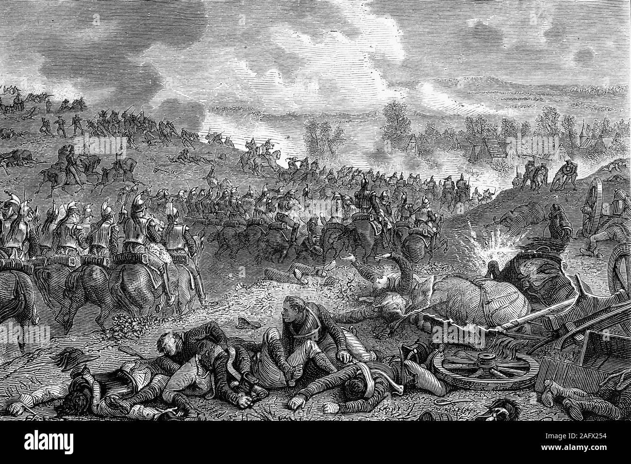 Batalla de Leipzig. De octubre de 1813. Las guerras napoleónicas. Ilustración de antigüedades. 1890. Foto de stock
