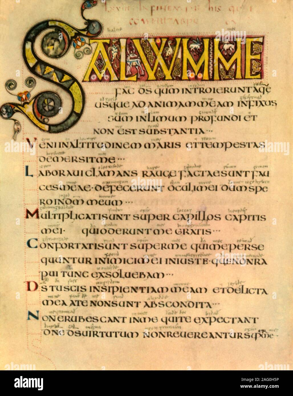 Una Página Desde Los Primeros Inglés Salterio 1947 La Ilustración Y El Texto Latino Del Libro