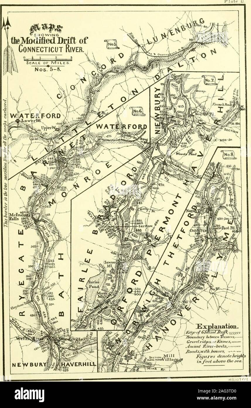 . La geología de New Hampshire : un informe que contiene los resultados de exploraciones, ordenado por la legislatura. Las características notables del valle en esta distancia, que es deepand estrechos, con los lados inclinados de Till, y desvalidos del nivel alluvialterraces e intervalos que ocupan una anchura grande por doquier a lo largo dela río. Donde cualquier deriva modificado se produce, es más grueso de lo habitual, siendo generalmente de grava, a veces de manera imperfecta redondeadas o desgastados por el agua, ysu superficie tiene comúnmente una pendiente irregular. La parte superior de theserapids es especialmente indigentes todavía de ese aluvión d Foto de stock