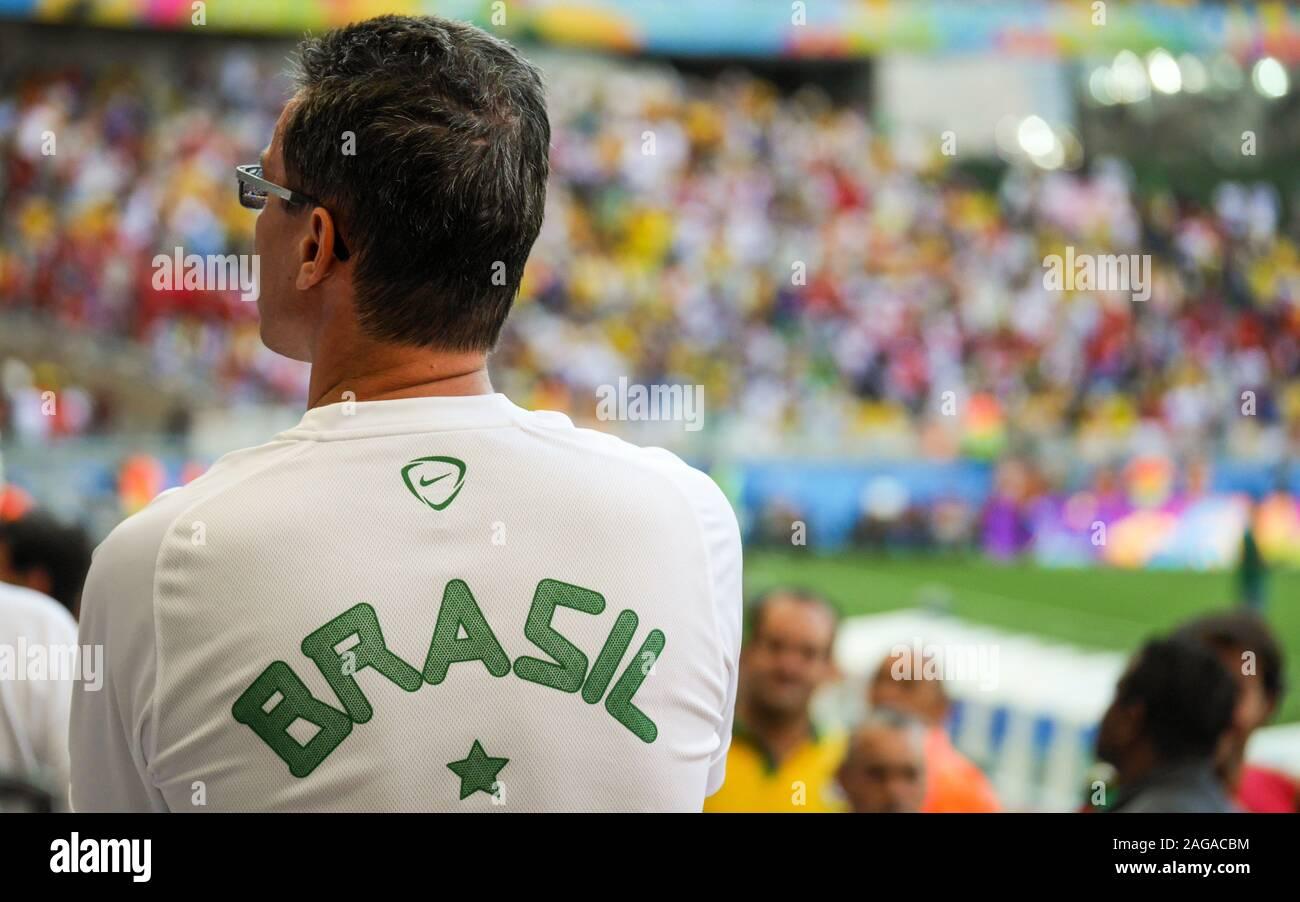 Un Fanático Del Fútbol Brasileño De Apoyar A Su Equipo