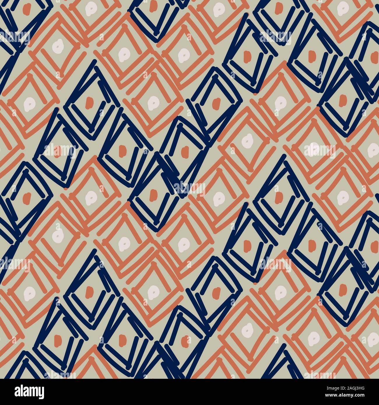 Rombos dibujados a mano formas abstractas patrón sin fisuras. Azul Marrón repetir antecedentes para envolver, textiles y diseño de impresión. Ilustración del Vector