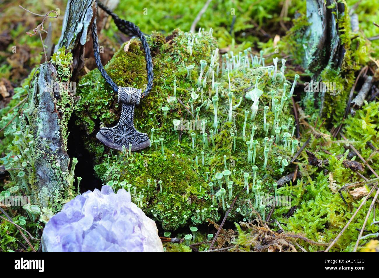 Un martillo de Thor amuleto de plata sobre un tocón cubiertas de musgo Foto de stock