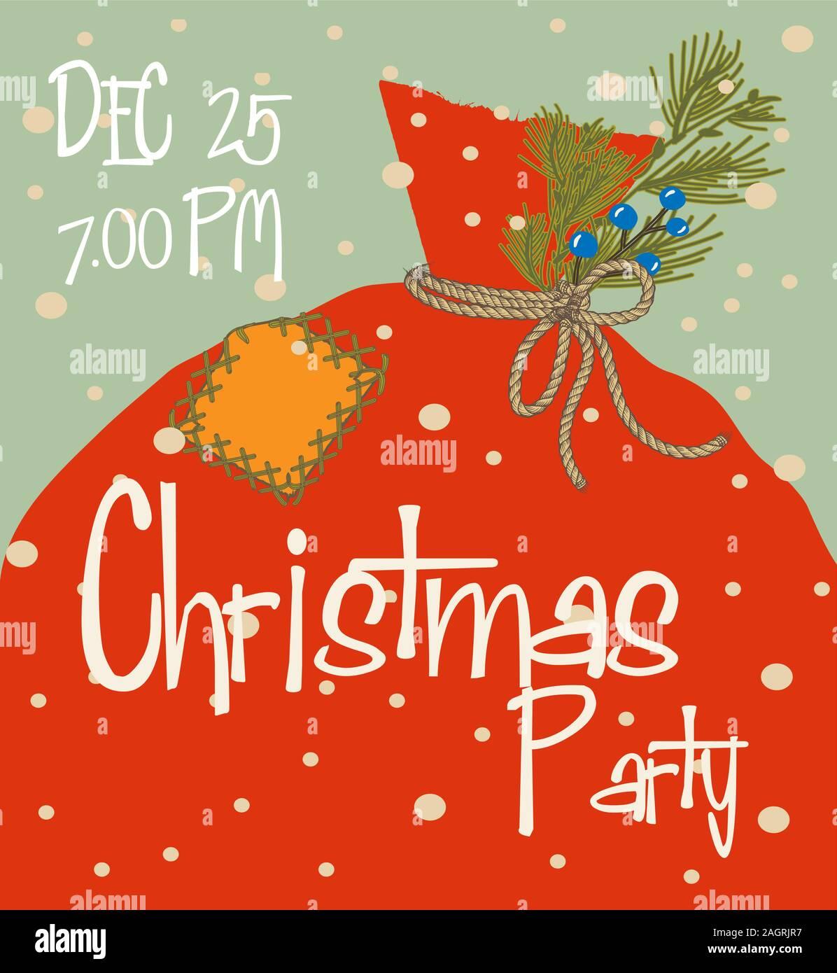Tarjeta De Invitación A Una Fiesta De Navidad En El Cómic De