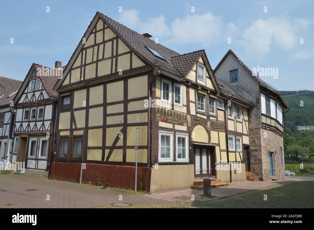 Ciudad Munchhausen Bodenwerder, Alemania Foto de stock
