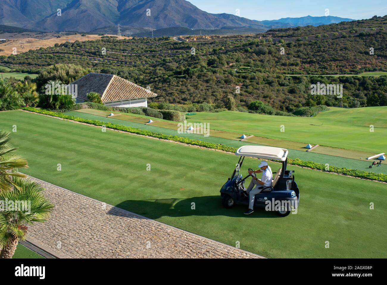 Campo de Golf de Finca Cortesin hotel en Málaga Costa del Sol Andalucía España Foto de stock