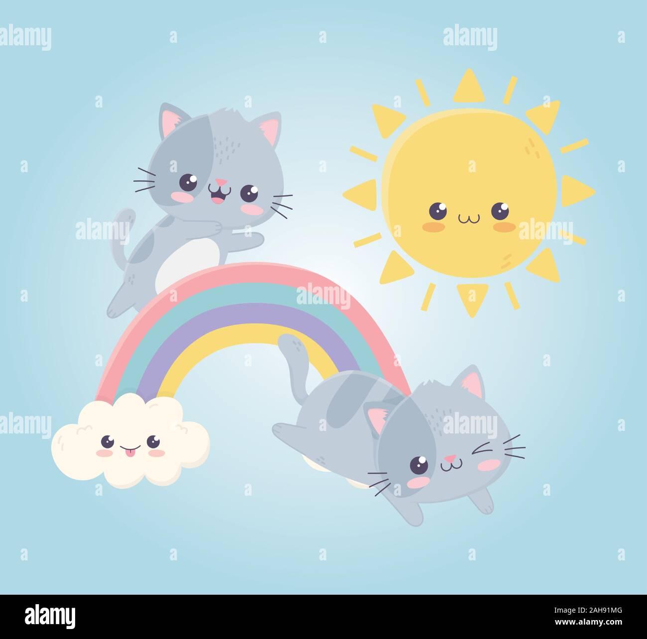 Kawaii Cute Dibujos Animados Gatos Jugando En El Rainbow Sun