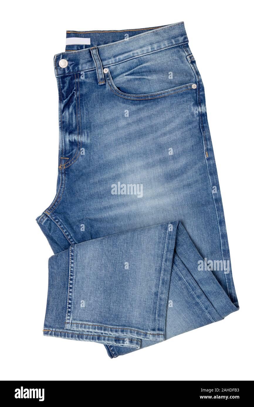Los Hombres Jeans Aislados Plegar La Moda Masculina Elegante Pantalones Vaqueros Azul Aislado Sobre Un Fondo Blanco Los Pantalones De Mezclilla De Moda Para El Hombre Fotografia De Stock Alamy