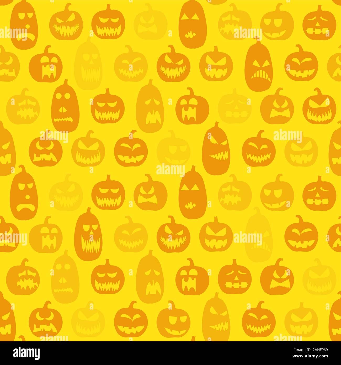 Scarry fondo perfecta con diferentes diseños de calabazas para halloween Ilustración del Vector