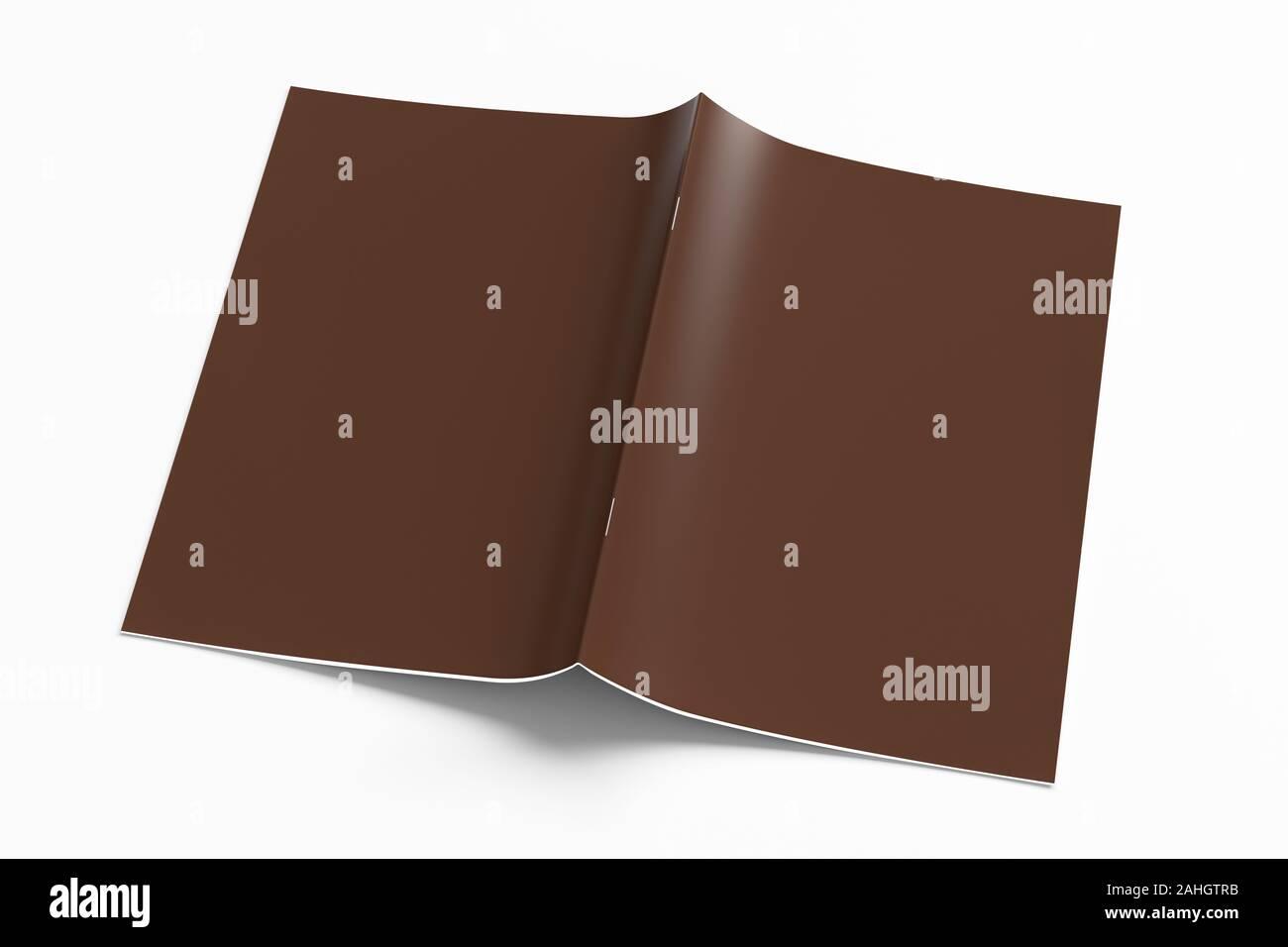 Brown folleto o manual cubierta maqueta en blanco. Folleto está abierto y boca abajo. Aislada con trazado de recorte alrededor de folleto. 3d illustratuion Foto de stock