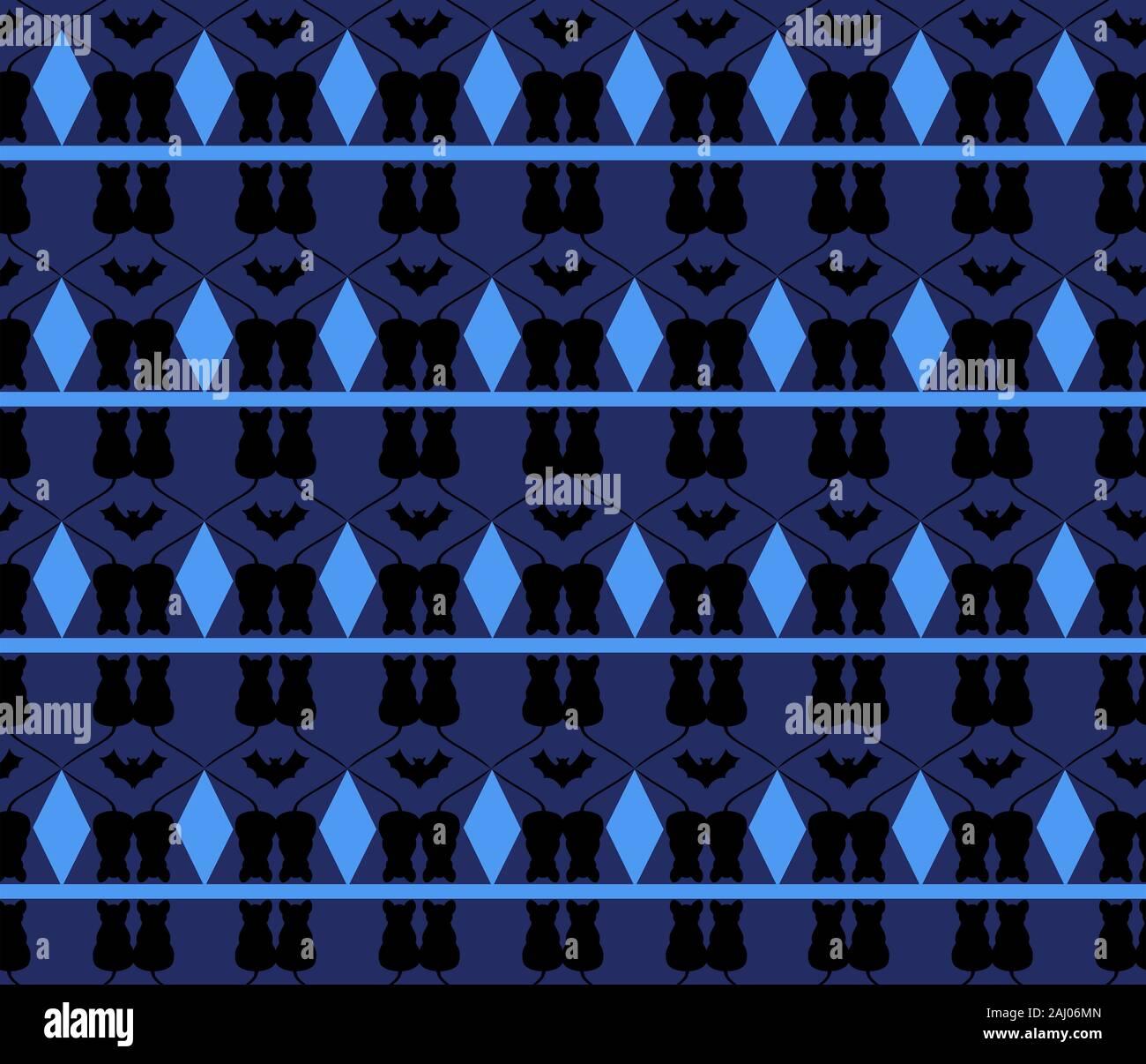 Azul oscuro patrón sin fisuras con ratones y murciélagos. Rombos de color azul brillante sobre un fondo azul oscuro. Foto de stock