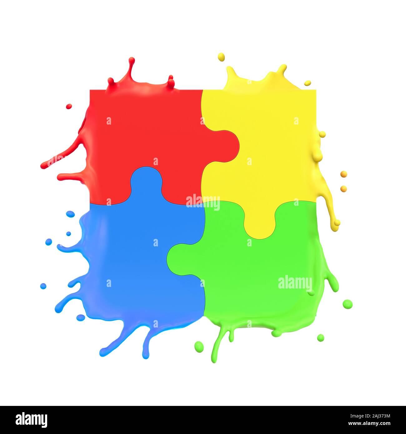 3D rendering de coloridas piezas de rompecabezas