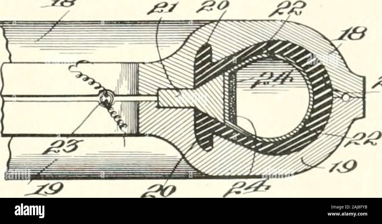 Goma India mundo . II. andlower mitades de molde superior ; 12, neumático de caucho ; 13, el vástago de la válvula ; 14, 15, bobinas para magnetiz-ing y calefacción la mitad superior del molde; 16, 17, bobinas para magnetizar y heatinglower la mitad de moldes. ingeniero para el caucho Diamante Co. (Akron, Ohio) y anexpert tanto en mecánica y electricidad. Las patentes tienen beensecured por él en Gran Bretaña, Francia, Alemania, Bélgica.Holanda, Italia, Suiza, Rusia, Finlandia, Japón, Australia, México, Canadá, Estados Unidos, andsome países Sudamericanos. Las invenciones que consisten, broadlystated, haciendo uso de un electriccurrent, Foto de stock